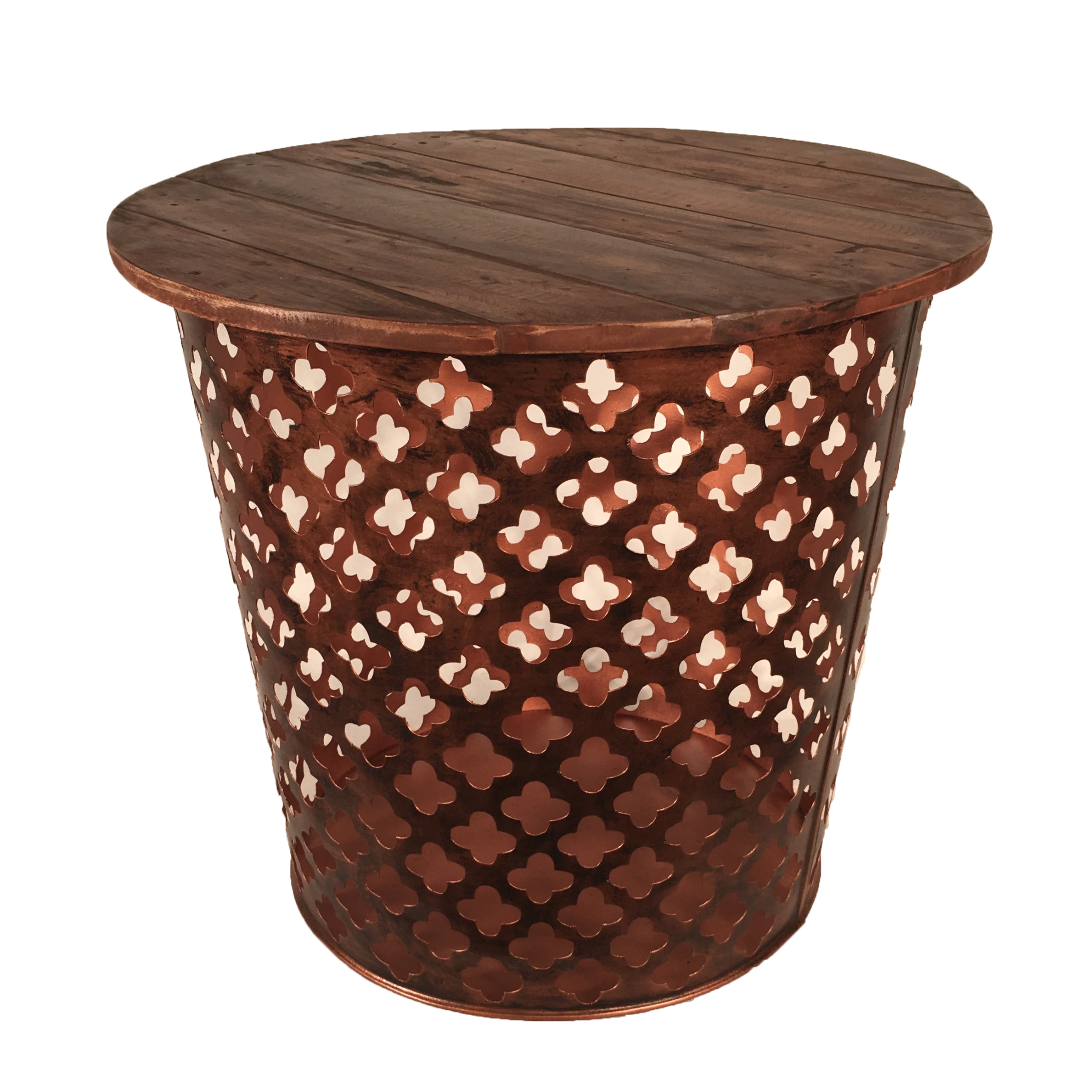 Outdoor Indoor Metal Drum Table Rustic Cross